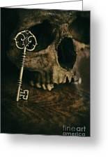 Human Skull With Vintage Key Greeting Card