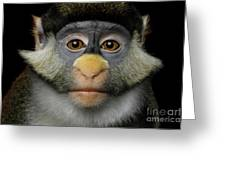 Humanity Portrait Of Red-tailed Monkey Greeting Card by Sergey Taran
