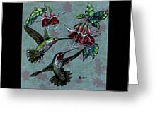 Hummers And Fuchsia Greeting Card