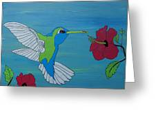 Hummingbird And Flowers Greeting Card
