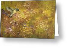 Hummingbird And Hydrangeas Greeting Card
