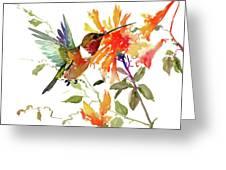 Hummingbird And Orange Flowers Greeting Card
