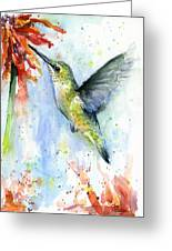 Hummingbird And Red Flower Watercolor Greeting Card