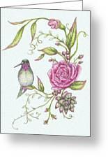 Hummingbird And Rose Greeting Card