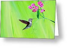 Hummingbird And Sweet Peas Greeting Card