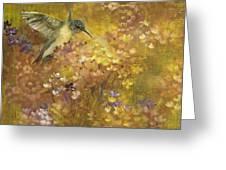 Hummingbird In Hydrangeas Greeting Card