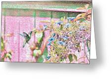Hummingbird In The Garden Greeting Card