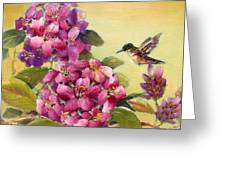 Hummingbird With Rhododendron Greeting Card