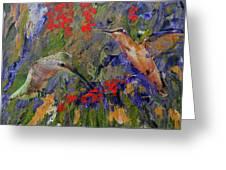 Hummingbirds 2, Abstract Art Greeting Card