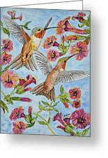 Hummingbirds And Hibiscus II Greeting Card