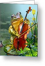 Humorous Scene Frog Playing Cello In Lily Pond Greeting Card