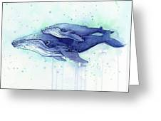 Humpback Whale Mom And Baby Watercolor Greeting Card