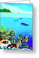 Humpback Whales, Reef Fish #252 Greeting Card