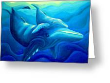 Humpback With Calf Greeting Card