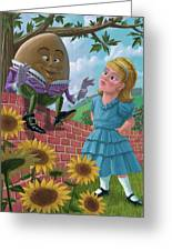 Humpty Dumpty On Wall With Alice Greeting Card
