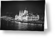 Hungarian Parliament Night Bw Greeting Card