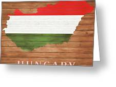 Hungary Rustic Map On Wood Greeting Card
