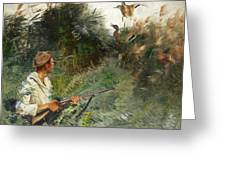 Hunter And Mallards Greeting Card