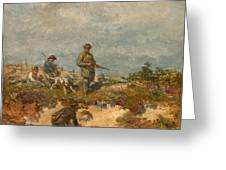 Hunters By A Fox-hole Greeting Card
