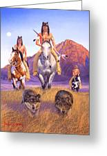 Hunters Of The Full Moon Greeting Card by Howard Dubois