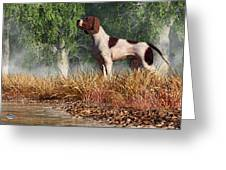 Hunting Dog By A River Greeting Card