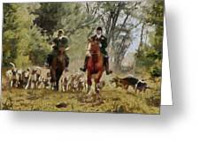 Hunting Dogs For Wild Boar Greeting Card