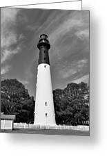 Hunting Island Lighthouse Beaufort Sc Black And White Greeting Card