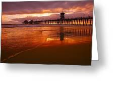 Huntington Beach At Sunset Greeting Card