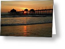 Huntington Beach Pier At Sunset Greeting Card