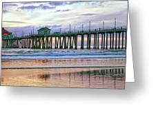Huntington Beach Pier Panorama Colo Greeting Card