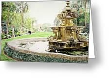 Huntington Fountain Morning Mist Greeting Card by David Lloyd Glover