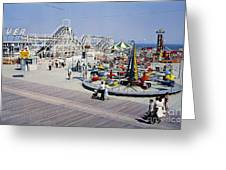 Hunts Pier On The Wildwood New Jersey Boardwalk, Copyright Aladdin Color Inc. Greeting Card