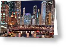 Hustle And Bustle Night Lights In Chicago Greeting Card
