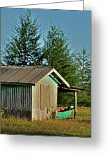 Hut With Green Boat Greeting Card