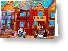 Hutchison Street Sabbath In Montreal Greeting Card by Carole Spandau