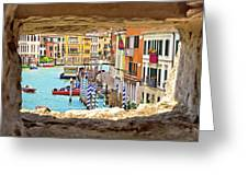 Hvar Bay Aerial View Through Stone Window Greeting Card