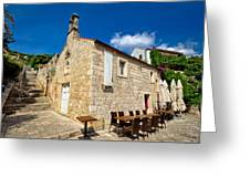 Hvar Old Stone Church And Antic Steps Greeting Card