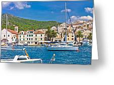 Hvar Yachting Harbor And Historic Architecture Panoramic  Greeting Card