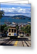 Hyde Street Cable Car Line And San Francisco Bay Greeting Card