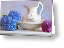 Hydrangea And Wash Basin Greeting Card