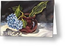 Hydrangea In A Bean Pot Greeting Card
