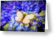 Hydrangea With White Butterfly Greeting Card