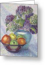 Hydrangea's And Apples Greeting Card