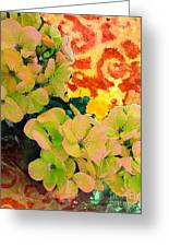 Hydrangeas And Swirls Greeting Card