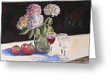 Hydrangeas Apples And Wine Greeting Card