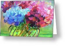 Hydrangeas In A Glass Vase Greeting Card