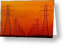Hydro Power Lines And Towers Greeting Card