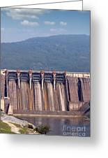 Hydroelectric Power Plants On River Industry Greeting Card