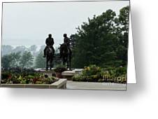 Hyrum And Joseph Smith Statue In The Mist From The Mississippi Greeting Card
