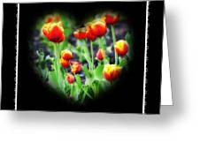 I Heart Tulips - Black Background Greeting Card